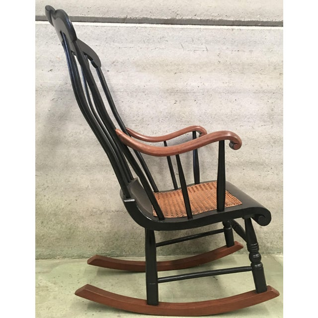 Wood 19th Hitchcock Rocking Chair With Woven Seat and Black Painted For Sale - Image 7 of 9