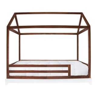 Domo Kids Twin Canopy Bed With Rails in Walnut For Sale