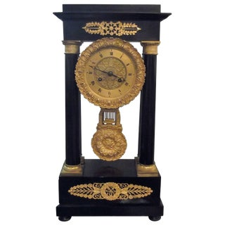Early 19th Century Antique French Empire Portico Clock For Sale