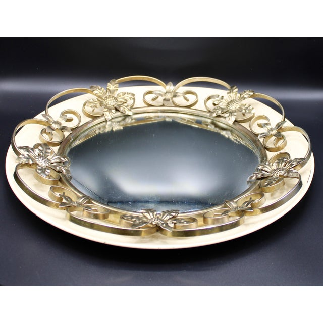 English Vintage English Round Metal Convex Mirror For Sale - Image 3 of 10