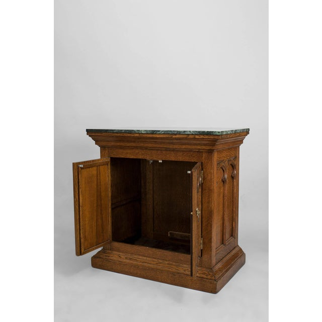 Late 19th Century Turn of the Century English Gothic Revival Marble and Oak Commode For Sale - Image 5 of 5