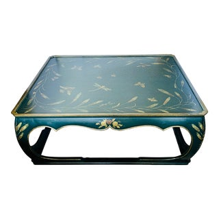 Large Chinoiserie Green and Gold Painted Coffee Table For Sale