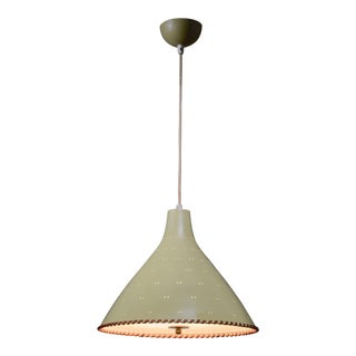 Paavo Tynell Light Yellow Pendant With Leather String For Sale