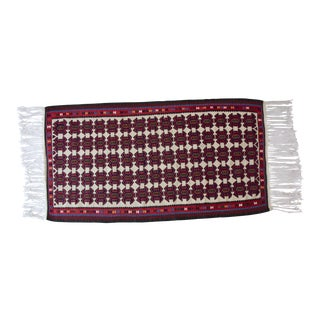 Turkish Jewel Toned Kilim Rug With Long Tassel For Sale