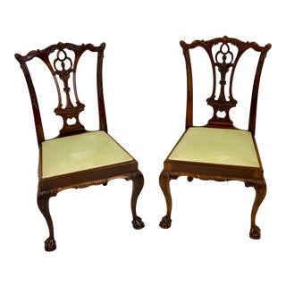 Late 20th Century Chippendale Mahogany Ball & Claw Dining Chairs - Pair For Sale