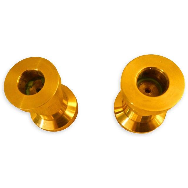 Modern Heavy Brass Billet Candleholders For Sale - Image 3 of 5