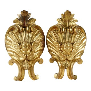 Late 18th Century Italian Giltwood Decorative Elements - a Pair For Sale