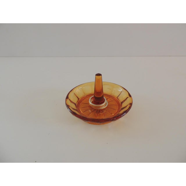 1990s Round Amber Color Glass Ring Holder For Sale - Image 5 of 5