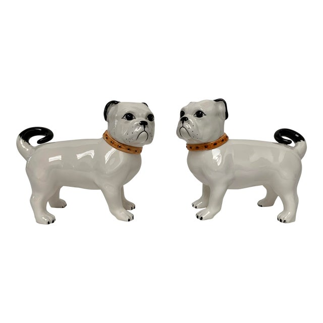 Large Italian Ceramic Pug Puppy Dog Figures - a Pair For Sale