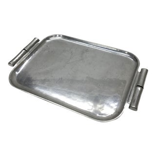 1960s Vintage Pewter Bamboo Tray by Bruce Fox Design Manufactured by Wilton For Sale