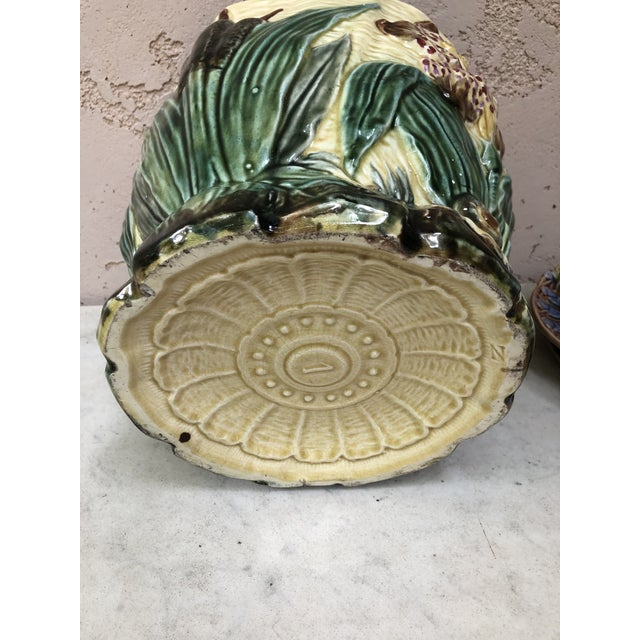 Ceramic 19th Century Majolica Jardinière Flower and Snail Wasmuel For Sale - Image 7 of 8