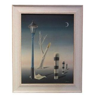 1970s Vintage British Painter Norman Black Surrealist Painting For Sale