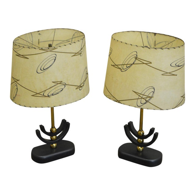 1950s Mid Century Modern Atomic Style Table Lamps W Shades