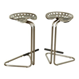 Vintage Pair Chrome Tractor Seat Bar Stools For Sale