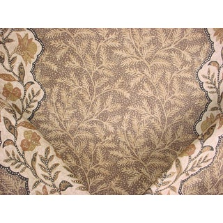 3-5/8y Lee Jofa 2006206 Bosphorus Taupe Printed Floral Linen Upholstery Fabric For Sale