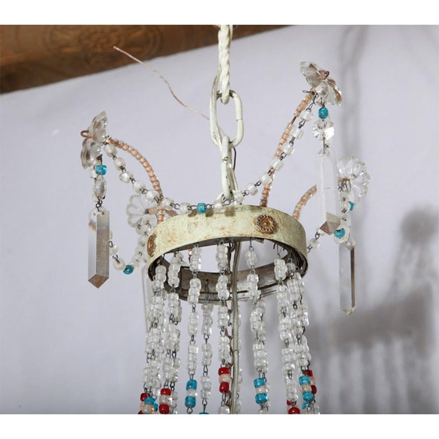 Gold Multi-Colored Glass Beaded Italian Chandelier For Sale - Image 8 of 11