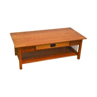 Mission Style Amish Made Solid Oak Coffee Table For Sale