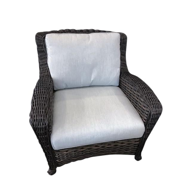 """Ebel Dreux Outdoor Club Chair With 6"""" Seat and Backrest Cushions For Sale"""