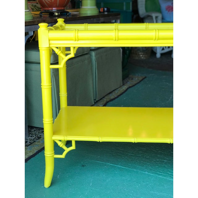 Lacquered Yellow Faux Bamboo and Fretwork Console Table For Sale - Image 10 of 13