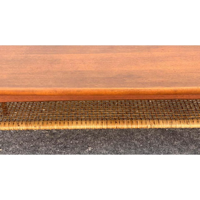 Mid-Century Modern Ib-Kofod Larsen, Two-Tier Teak Surfboard Coffee Table With Caned Shelf For Sale - Image 3 of 10