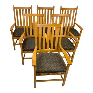Vintage Oak Collingwood Furniture Arts and Crafts Chairs - Set of 6 For Sale