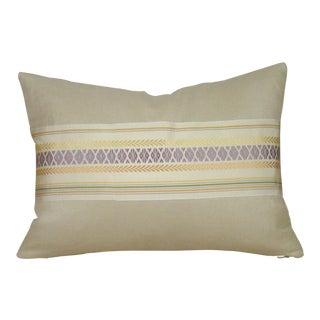 Vintage Pastel Japanese Silk Kaku Obi Pillow Cover For Sale