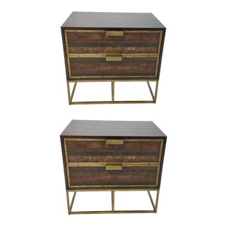 Currey & Co. Wood, Leather, and Brass Holden Nightstands Pair For Sale