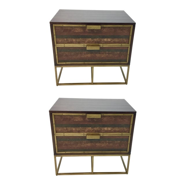 Image of Currey & Co. Wood, Leather, and Brass Holden Nightstands Pair