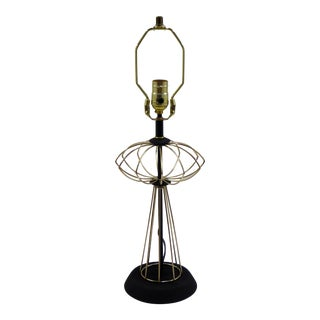 1950s Atomic Age Inspired Brass N Wood Table Lamp For Sale