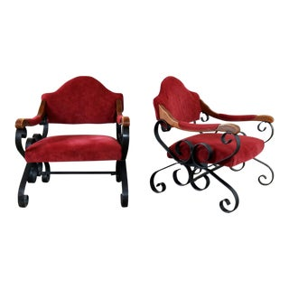 Spanish Revival Mediterranean Style Wrought Iron Lounge Chairs After Artes De Mexico For Sale