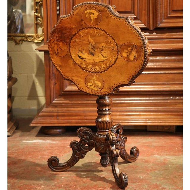 Rustic 19th Century Swiss Black Forest Carved Walnut Side Table With Deer Inlay Scenes For Sale - Image 3 of 10