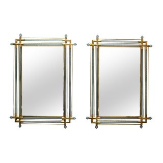 Venetian Mirrors Bordered in Brass and Spiraled Murano Glass, a Pair
