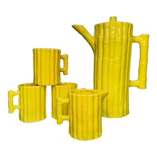 1960s Hollywood Regency Faux Bamboo Tea Set - 5 Pieces For Sale