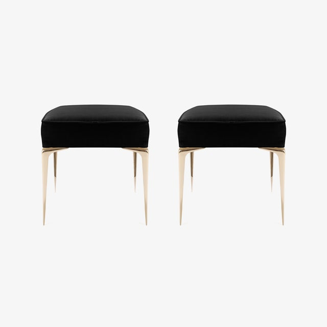 Montage Colette Brass Ottomans in Noir Velvet by Montage, Pair For Sale - Image 4 of 7