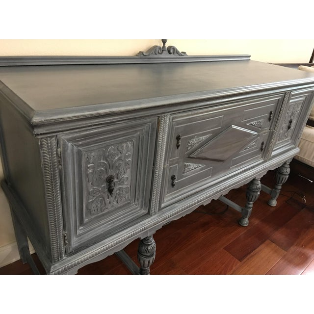 Early 21st Century Vintage Hand-Painted Distressed Sideboard For Sale - Image 5 of 9