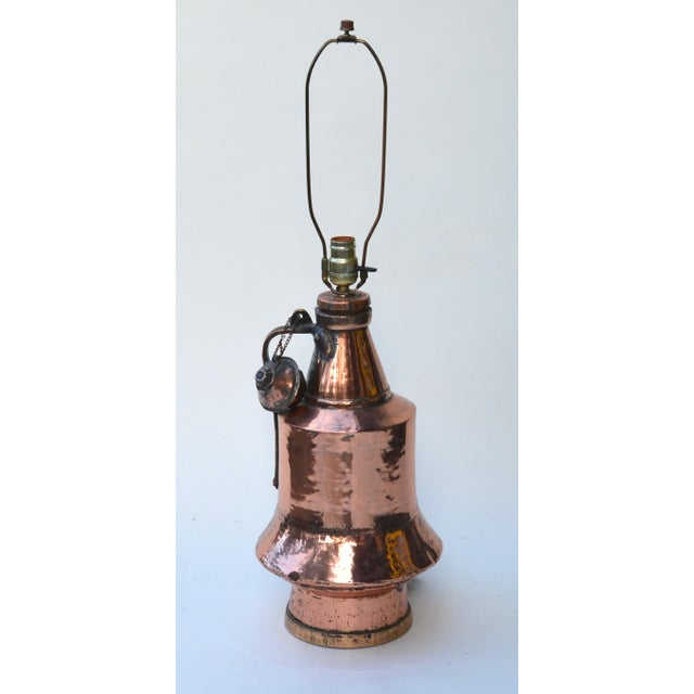 Copper Antique Anatolian Copper Vessel Lamps - A Pair For Sale - Image 7 of 9