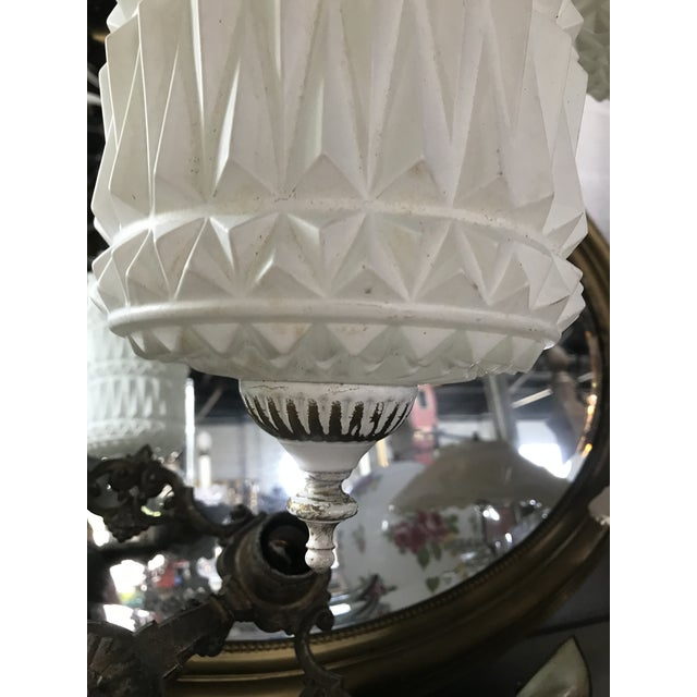 White Mid-Century Modern Pendant Swag Lights - a Pair For Sale - Image 8 of 9