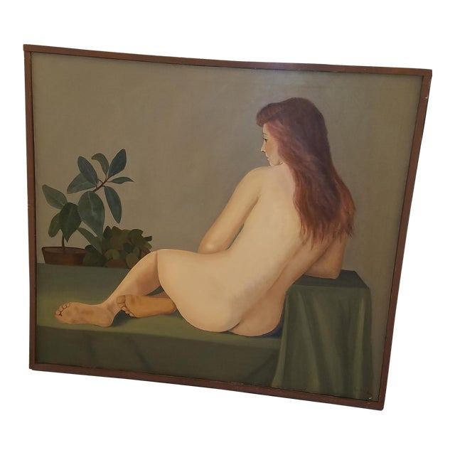 1960s Large Original Oil of Seated Female Nude by Philadelphia Listed Artist Eva Martino For Sale