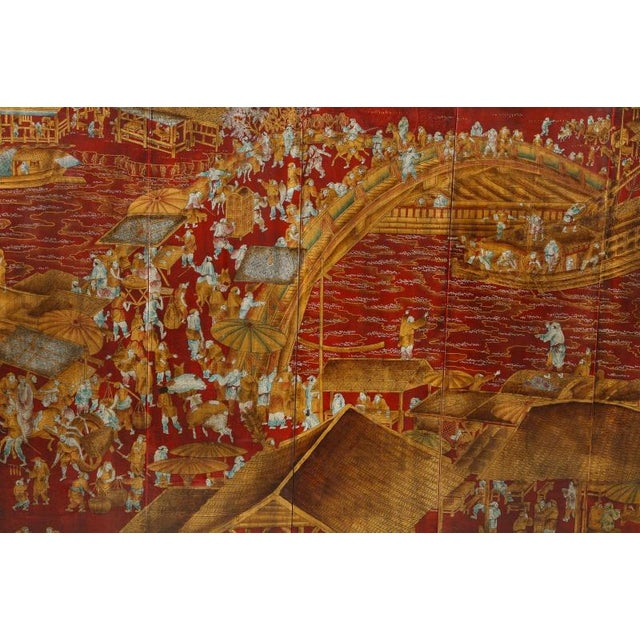 Mid 20th Century Series of Six Red Lacquered Chinoiserie Panels For Sale - Image 5 of 11