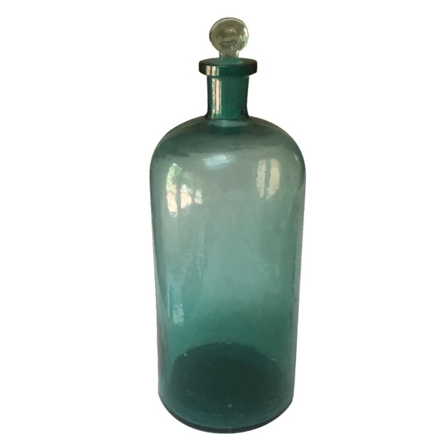 Large Teal Apothecary Bottle - Image 1 of 6