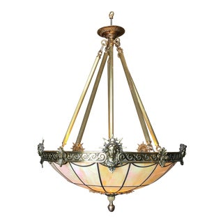 "Art Deco Inspired Bronze ""Liberty"" Stained Glass Chandelier For Sale"