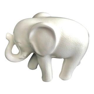 White Cracked Finish Ceramic Elephant Figure