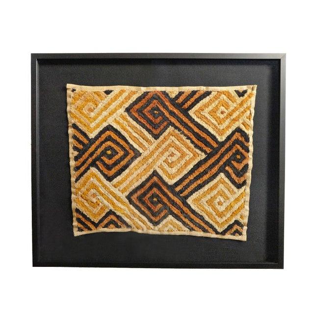 African Kuba Shoowa Grass Textile Framed For Sale - Image 3 of 3