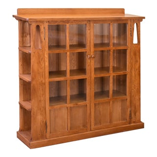 Crafters and Weavers Mission Double Door Bookcase With Side Shelves Michael's Cherry (Mc1) For Sale