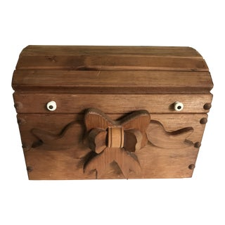 1980s Folk Art Wooden Bow Front Chest For Sale