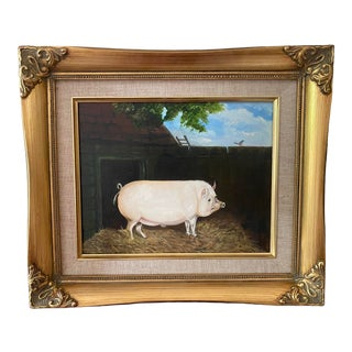 Folk Art Style Oil Painting of a Prize Pig by Satori Gregorakis, Framed For Sale
