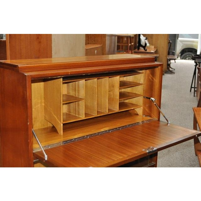1950's Mid- Century Modern Drop Front Desk With Bookcase - Image 3 of 3
