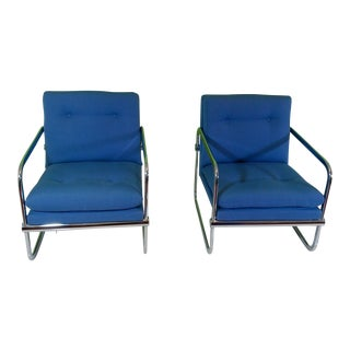 Mid-Century Chrome Frame Club Chairs - A Pair