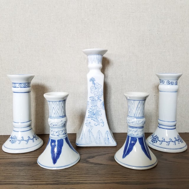 Ceramic Chinoiserie Blue & White Candlesticks, 5 Piece For Sale - Image 7 of 7