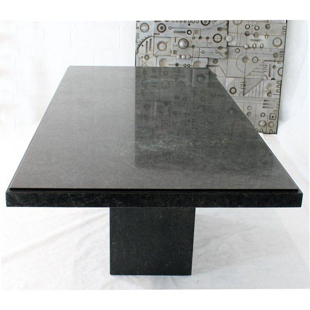 Marble Rectangular Single Marble Pedestal and Top Dining Conference Table Deep Green For Sale - Image 7 of 13